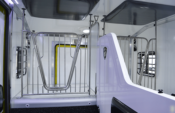 Stainless steel V-partition with foal insert